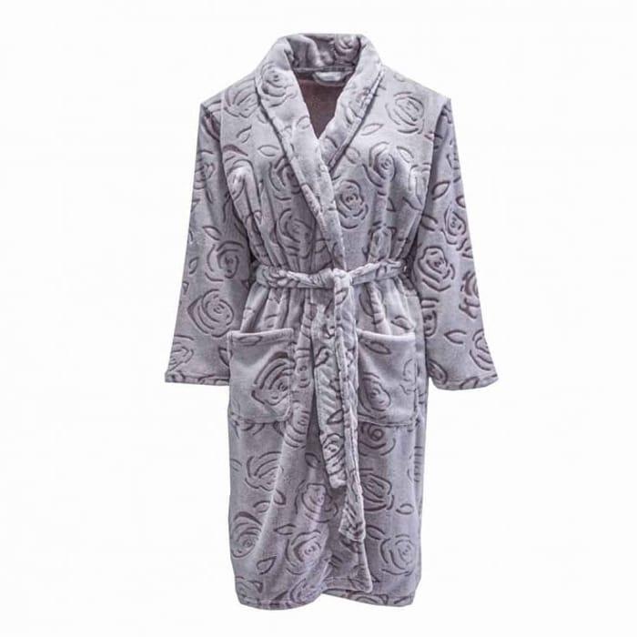 Rose Design Fleece Dressing Gown