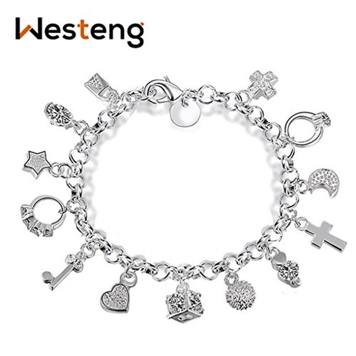 CHEAP! Westeng Charm Bracelet Women Silver Jewelry 13 Pendants 1.80 Delivery
