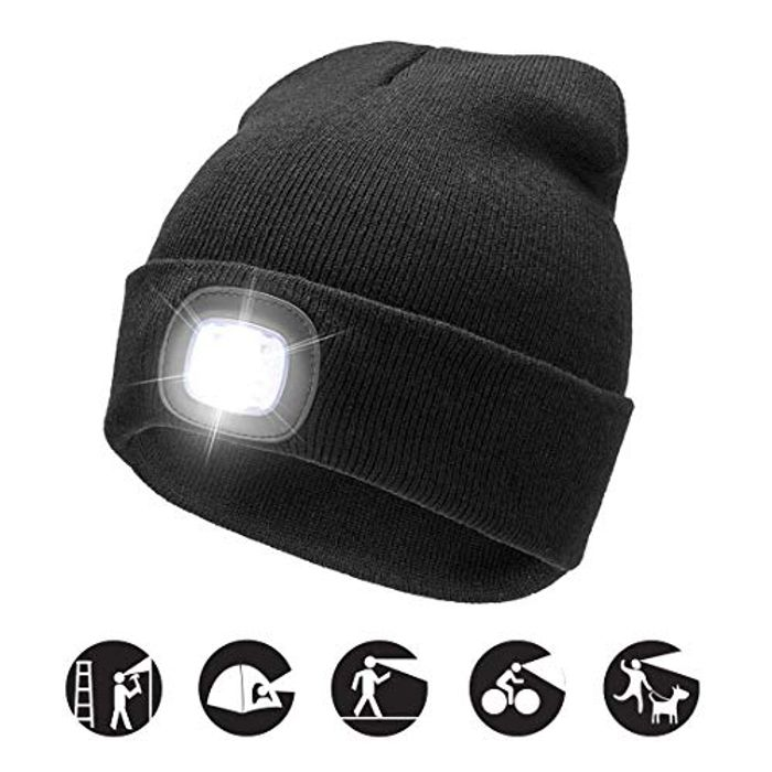 Best Price! LED Light Beanie Cap, USB Rechargeable Ultra Bright 4 LED Flashing