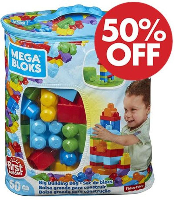 1/2 PRICE! Mega Bloks Big Building Bag - 60 Pieces (MINIMUM ORDER TWO)