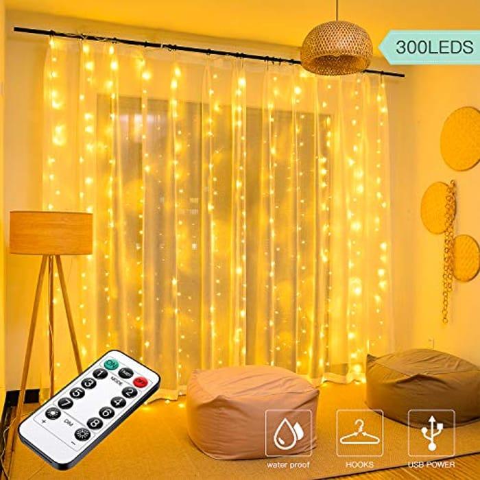 300 LED Curtain Lights,3mx3m USB Plug in Window Lights