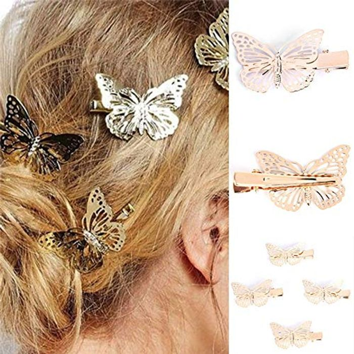 Best Price! Womens 1 Pair of Golden Butterfly Hair Clips at Amazon