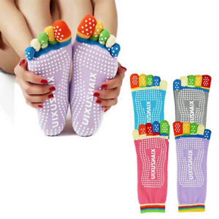 5 Toes Anti-Slip Yoga Cotton Socks,