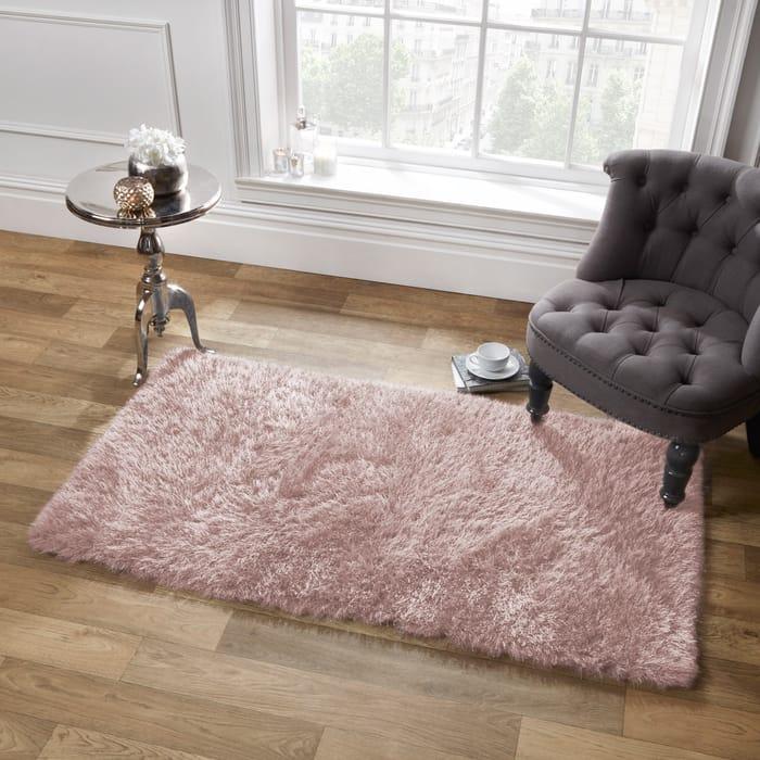 Sienna Thick 5cm Pile Rug 80150 Cm - Blush Pink