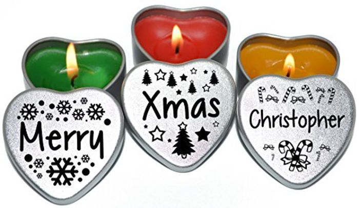 Personalised Christmas Heart Shape Candles in a Sliver Tin