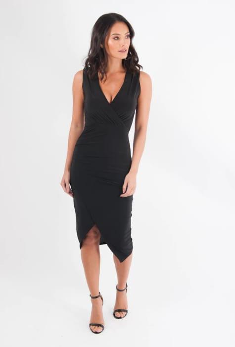 Black Wrap Bodycon Dress £24.95 £11.95 (You save £13.00) SIZE 6 8
