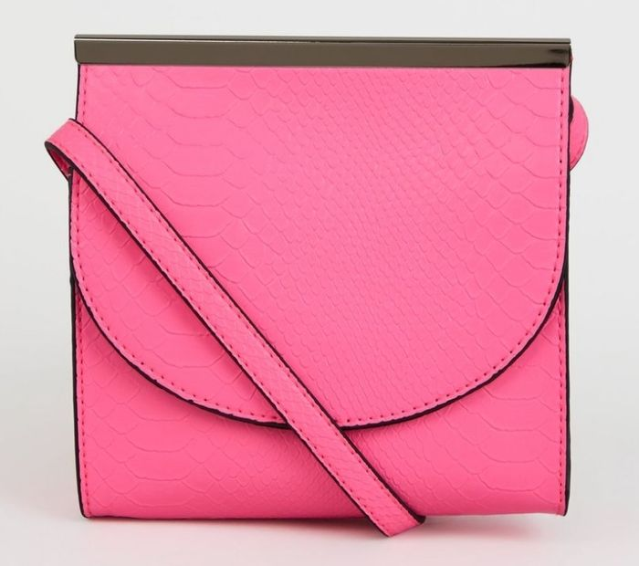 New Look Bright Pink Faux Snake Neon Cross Body Bag - 64% Off!