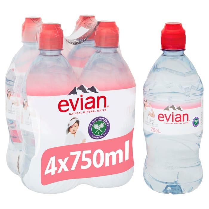 Evian Still 4X75cl - Save £0.60!