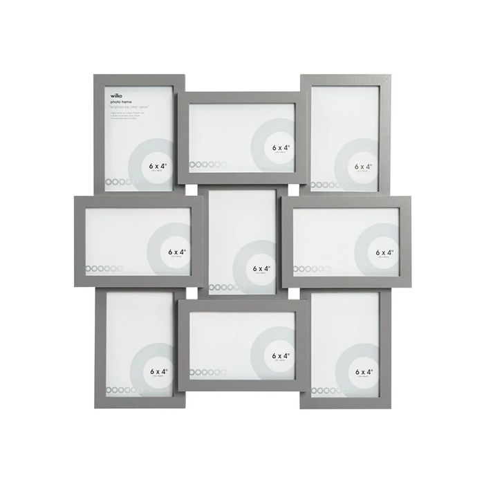 Wilko Grey 9 Multi Aperture Photo Frame 6 X 4 Inch