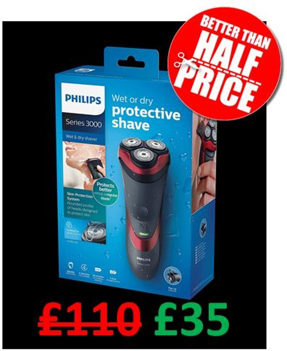 Cheap Philips Series 3000 Wet & Dry Shaver W/ Pop-up Trimmer - Save £75!