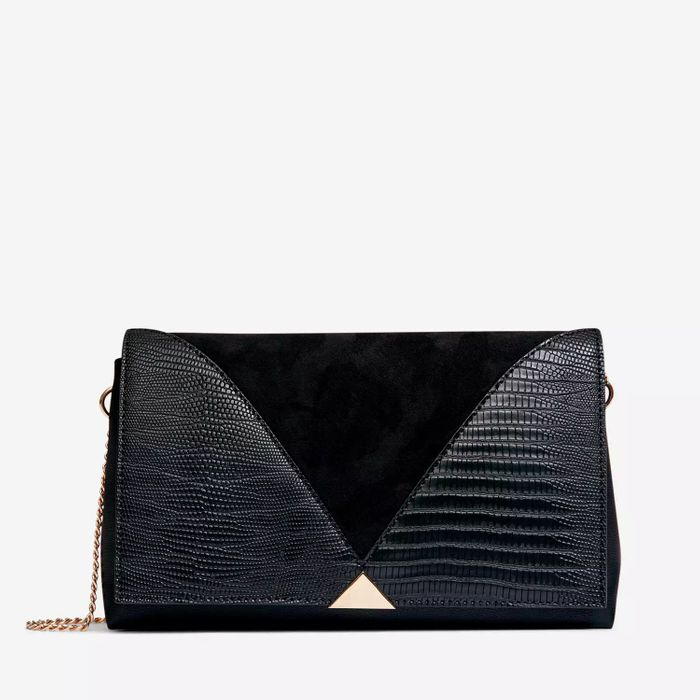 Dorothy Perkins-Black Panel Clutch Bag