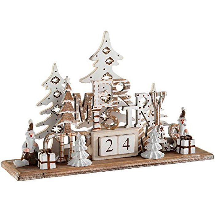 Christmas Wooden Christmas Scene Advent Calendar Decoration, Wood, 21 Cm