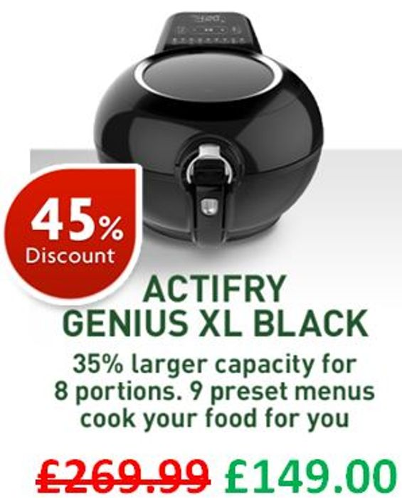 CHEAPEST EVER PRICE! Tefal Actifry Air Fryer, Genius XL, (8 Portions), 1.7 Kg