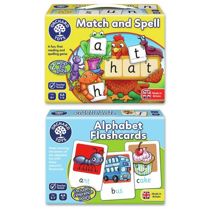 Orchard Toys Match & Spell and Alpha Flashcards Bundle - Online Only