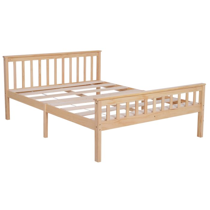 HOMCOM Double Bed Solid Pine Wooden Frame, 208L X 143W X 82Hcm