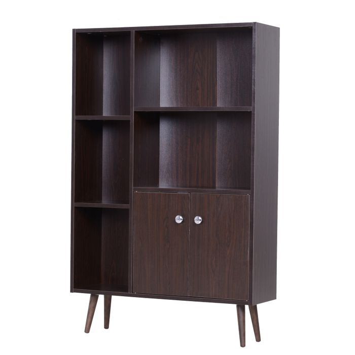 HOMCOM Open Bookcase Cabinet Shelves W/ Two Doors, 80W X 23.5D X 118Hcm