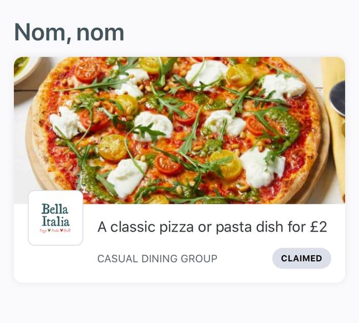 Bella Italia £2 Pizza or Pasta