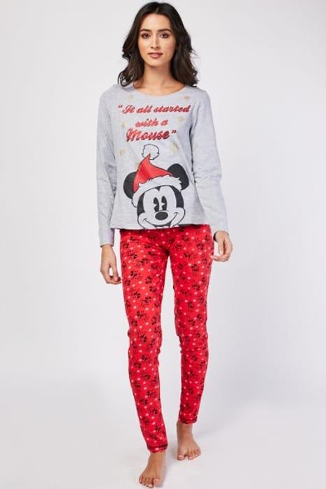 Festive Mickey Mouse Print Pyjama Set £5.00