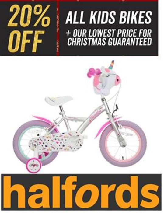 Special Offer - 20% off ALL KIDS BIKES at Halfords