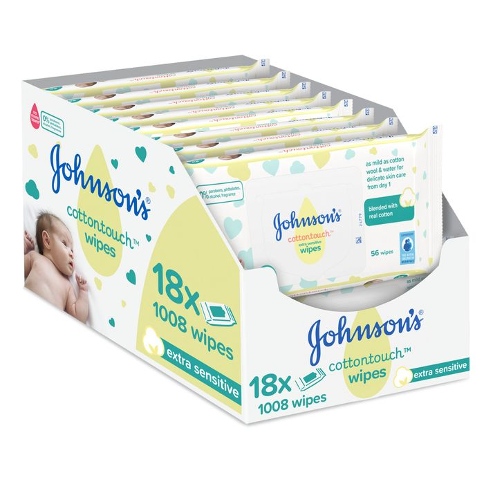 TESCO OFFER - Johnson's Baby Cotton Touch Wipes 18X56 Pieces (1008 Wipes)