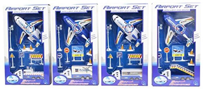 Aeroplane Airport Jumbo Jet Plane Playset W/ Lights Sounds & Accessories Amazon