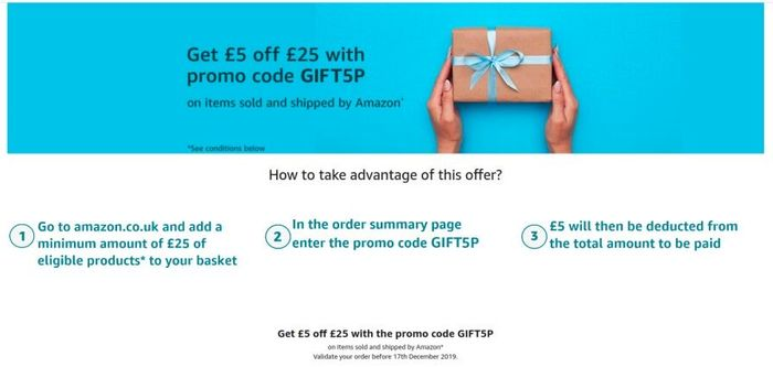 £5 off When You Spend £25 Using Code at Amazon (Maybe Account Specific)