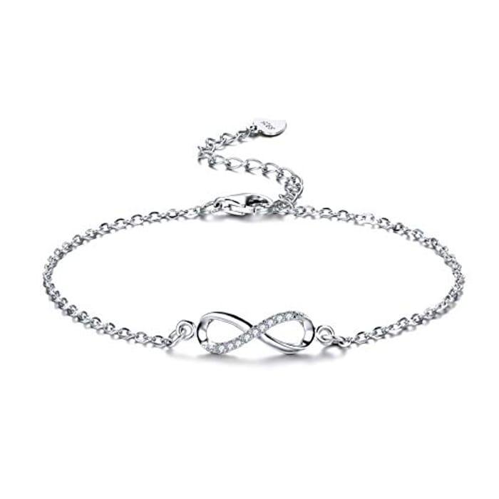 Women Bracelet 925 Sterling Silver Infinity Bracelet