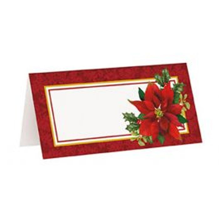 Best Price! 16 Christmas Red Poinsettia Place Cards at Littlecraftybugs