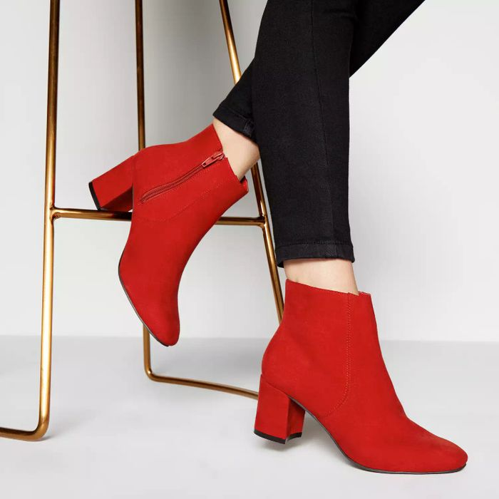 Principles - Red 'Ralph' Block Heel Ankle Boots