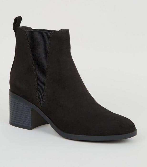 Black Suedette Block Heel Chelsea Boots