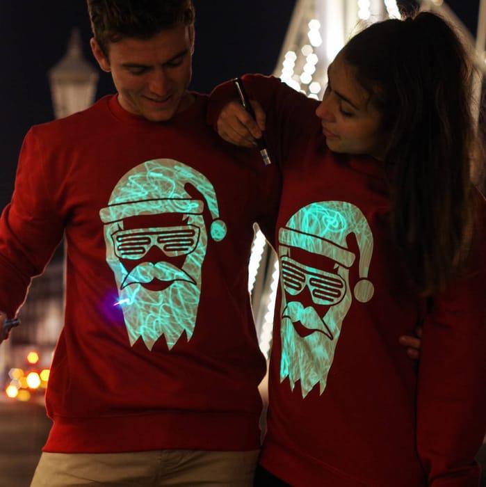 Interactive Glow Christmas Jumper Cool Santa