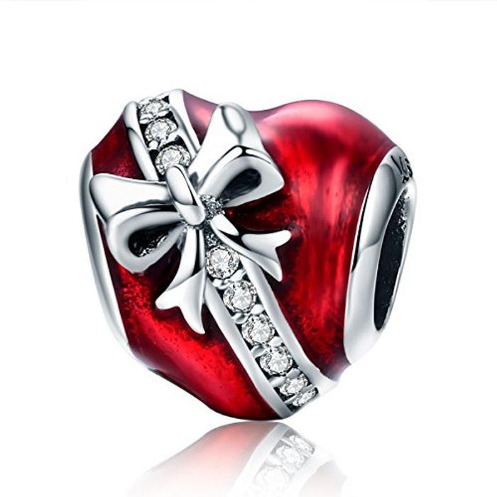 Christmas Love Heart Charms 925 Sterling Silver