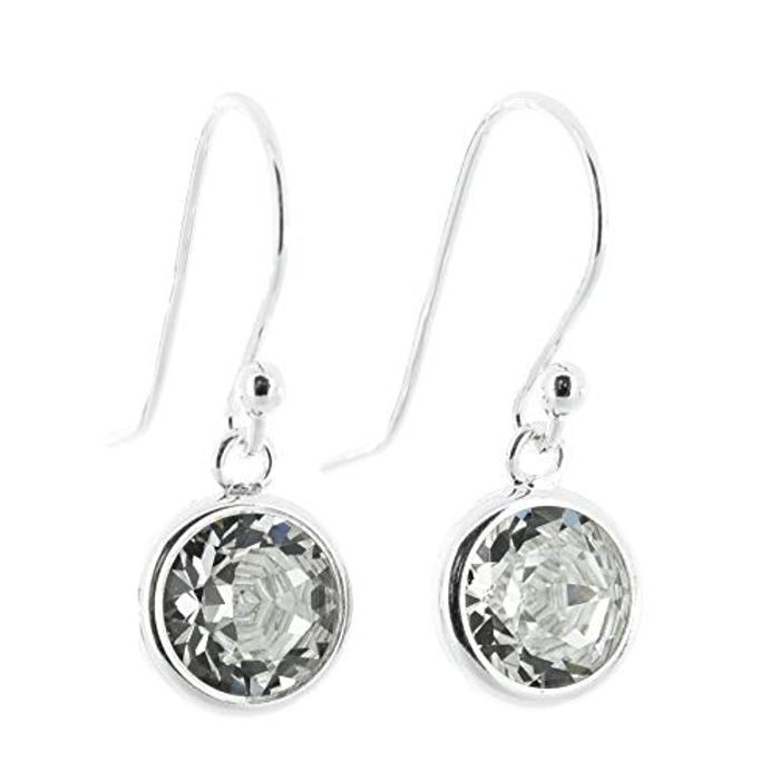 925 Sterling Silver Fishhook Earrings with Diamond White Crystal from Swarovski