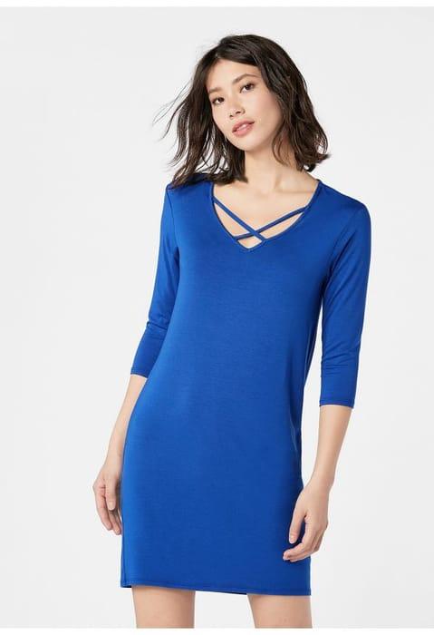 Cross V-Neck Dress at Justfab