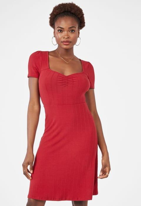 Ribbed Square Neck Dress at Justfab