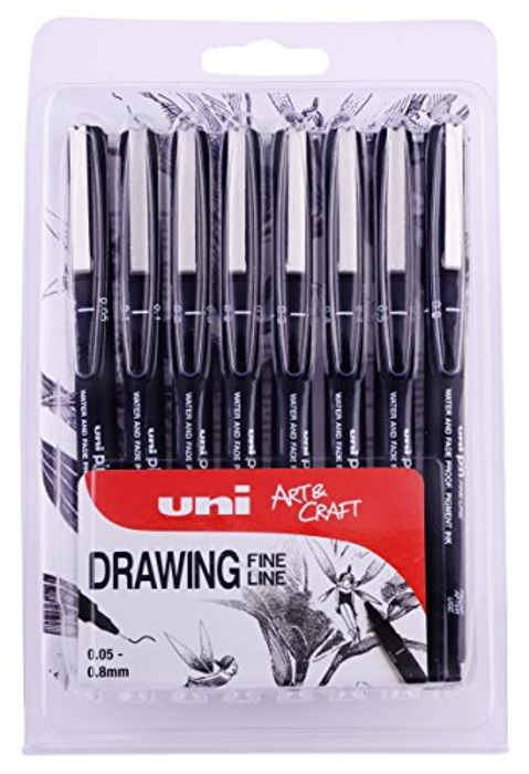Uniball Waterproof and Fade Proof Fine Line Art Pens (Pack of 8)