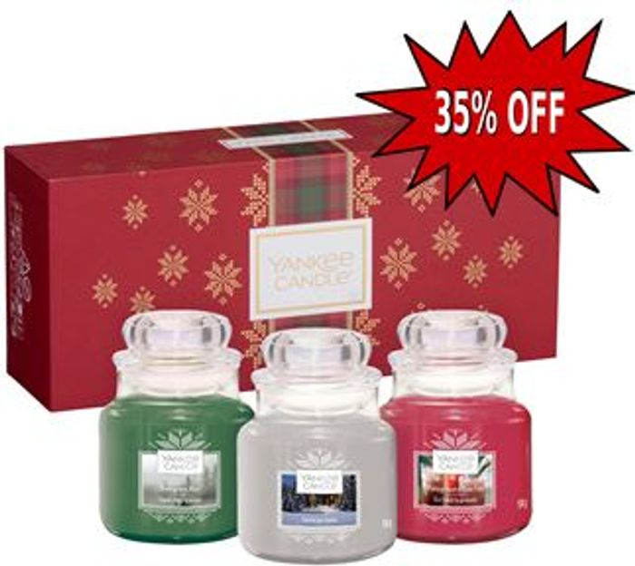 £9 OFF! Yankee Candle Christmas Gift Set 3 Small Jar Scented Candles *4.5 STARS*