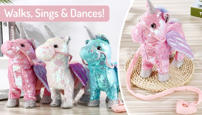 Walking, Singing & Dancing Interactive Glitter Unicorn - 3 Colours