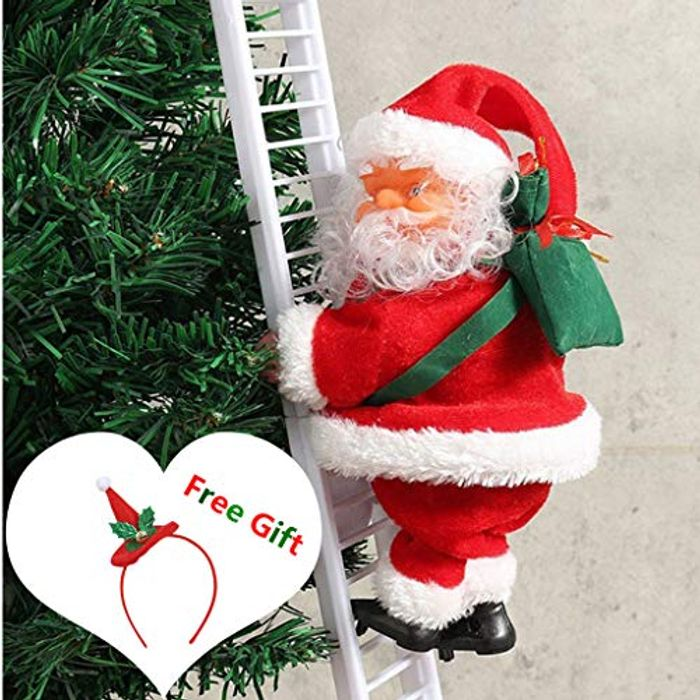 Janly Christmas Santa Electric Climbing Ladder