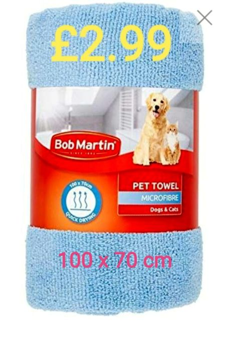 Bob Martin Towel for Dogs/Cats Absorbent Microfibre Quick Drying 100 X 70 Cm.