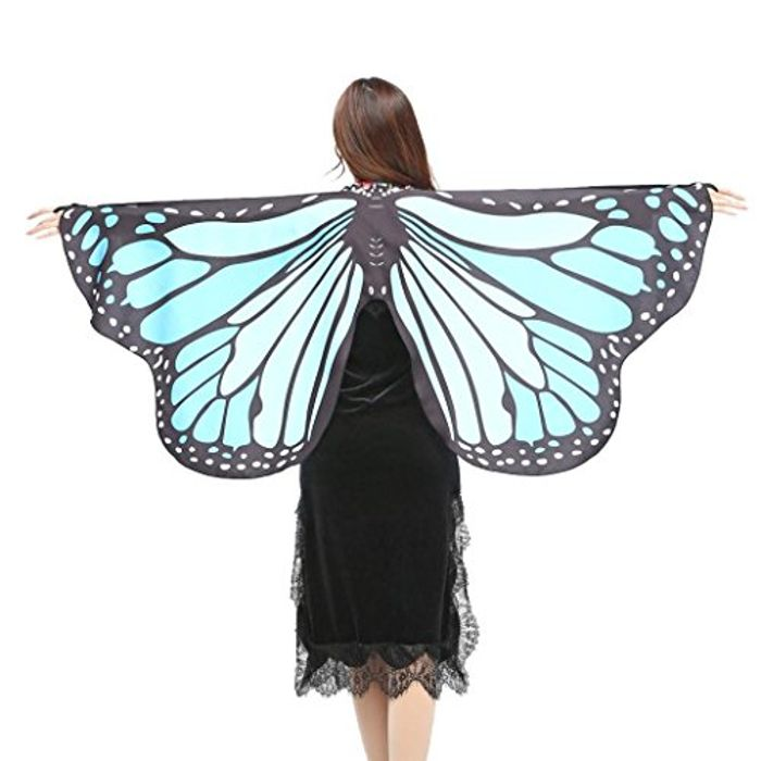 Beautiful Fabric Butterfly Wings Wrap Shawl Fairy Ladies Girls Pixie Costume