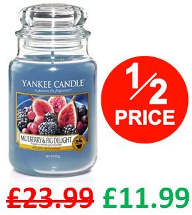 1/2 PRICE! Yankee Candle Large Jar Scented Candle, MULBERRY & FIG