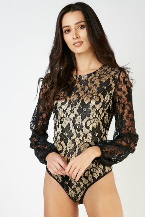 Long Sleeve Lace Overlay Bodysuit £5.00