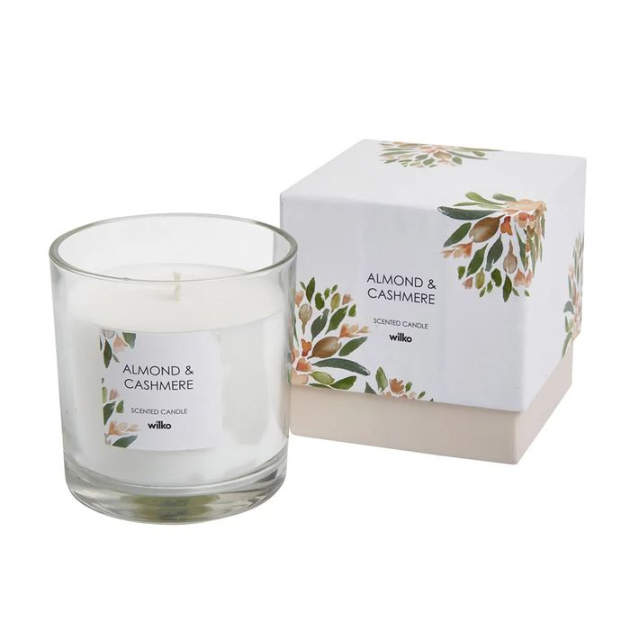 Almond and Cashmere Boxed Glass Candle