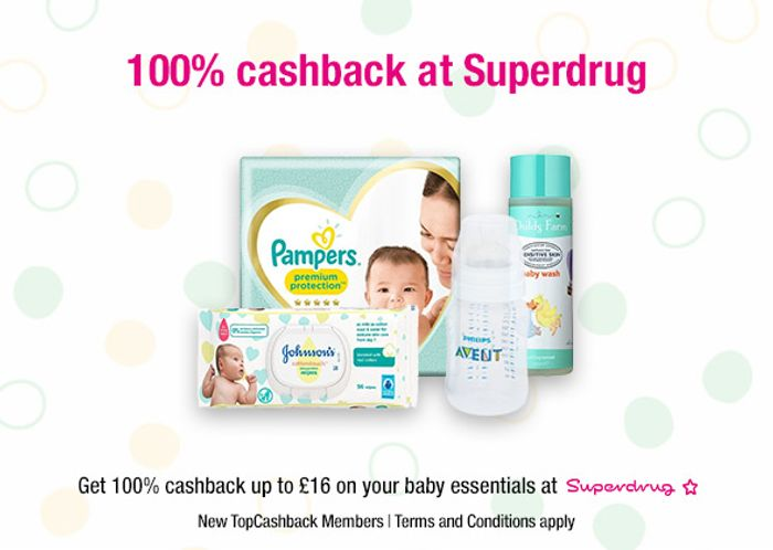 Free Baby Essentials at Superdug up to £16 after Cashback