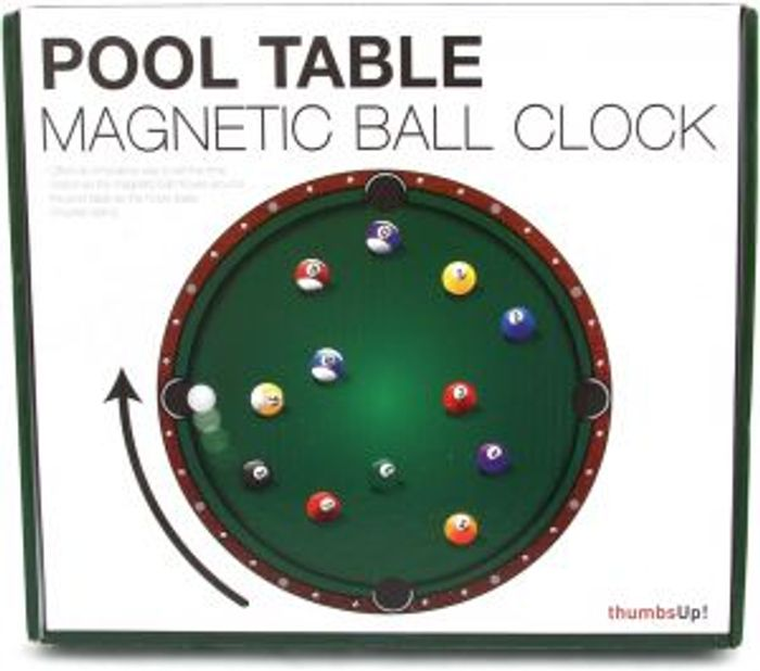 Pool Table Hanging Wall CLOCK Novelty Time Piece Magnetic round Pendant