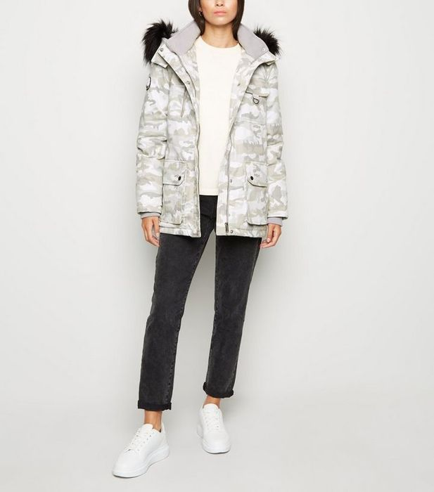 Cheap Light Grey Camo Faux Fur Trim Parka Coat, reduced by £28.99!
