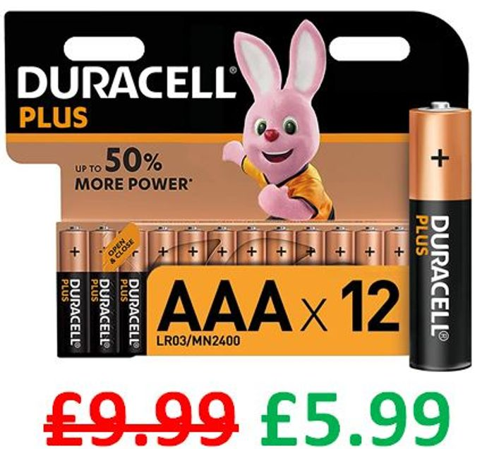 AMAZON DEAL - Duracell plus AAA Alkaline Batteries - Pack of 12