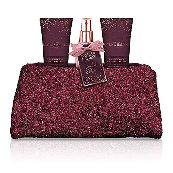 Baylis & Harding Midnight Plum & Wild Blackberry Luxury Sequin Clutch Bag Gift