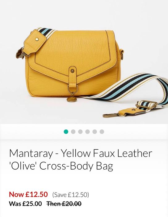 Mantaray - Yellow Faux Leather 'Olive' Cross-Body Bag